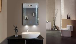 Miroir led rectangle avec horloge 50 x 70 cm